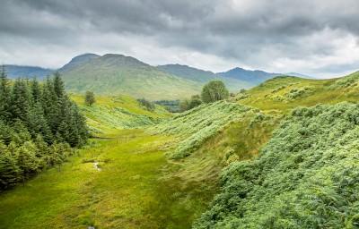 Une vallée verdoyante en écosse, au km70 de la west highland way.