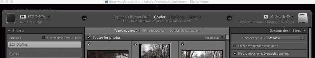 vue du module d'import de lightroom